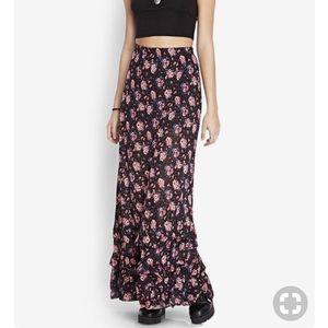 Forever 21 Ruffled Floral Maxi Skirt